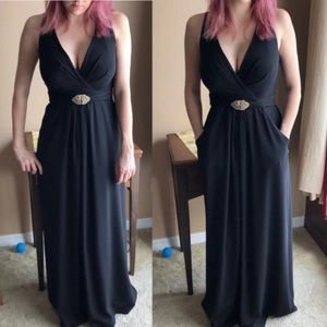 Kay Unger black cocktail maxi dress with pockets